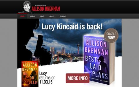 Screenshot of Home Page allisonbrennan.com - Allison Brennan :: New York Times Best Selling Author - captured Sept. 27, 2015