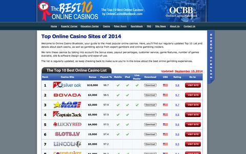 Screenshot of Home Page onlinecasinobluebook.com - Top 10 Online Casino Sites - Find the Best Online Gambling Sites - captured Sept. 30, 2014