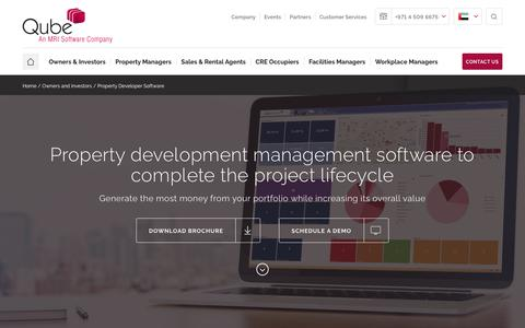 Screenshot of Developers Page qubeglobal.com - Property development software for the entire project lifecycle - captured Feb. 14, 2018