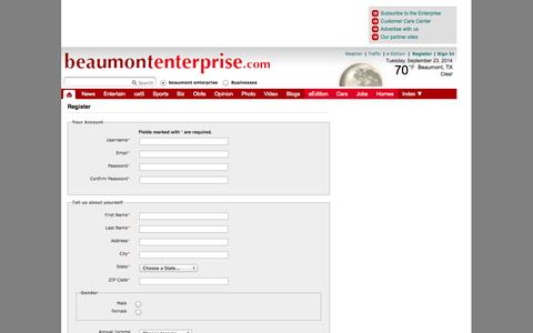 Screenshot of Signup Page beaumontenterprise.com - BeaumontEnterprise.com - Register - captured Sept. 24, 2014