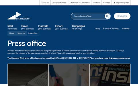 Screenshot of Press Page businesswest.co.uk - Press office | Business West - captured June 3, 2017