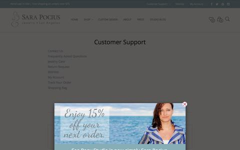Screenshot of Support Page sarapocius.com - Customer Support - Jewelry design by Sara Pocius - captured Oct. 29, 2014
