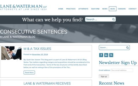 Screenshot of Blog l-wlaw.com - Consecutive Sentences Blog | Lane & Waterman LLP Attorneys at Law - captured Dec. 14, 2018