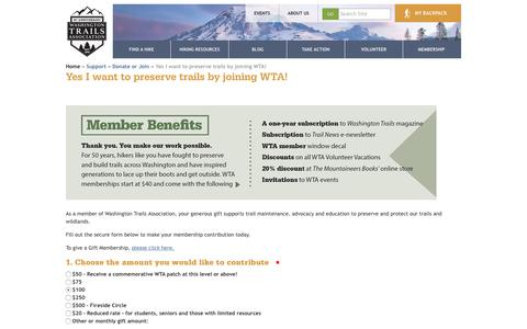 Screenshot of Signup Page wta.org - Yes I want to preserve trails by joining WTA! — Washington Trails Association - captured Nov. 10, 2016
