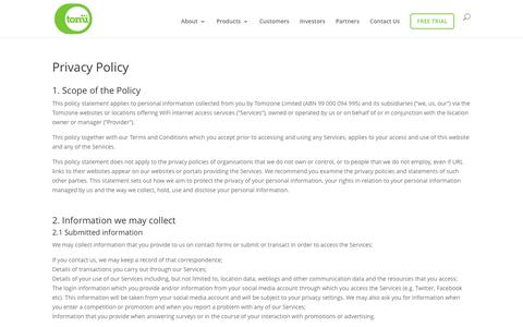 Privacy Policy | Tomizone
