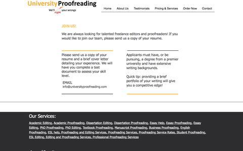 Screenshot of Jobs Page universityproofreading.com - Careers - captured Sept. 21, 2018