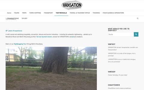 Screenshot of Testimonials Page vansation.com - TESTIMONIALS - VANSATION Private Berlin Van Sightseeing Tours - captured Oct. 19, 2017