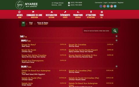 Screenshot of Menu Page nyaree.ch - Nyaree Restaurant Switzerland   Best Thai TakeOut-Lunch Geneva 1205 - captured Nov. 3, 2014