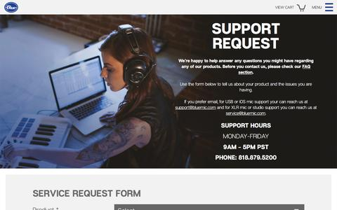 Screenshot of Support Page bluemic.com - Blue Microphones - Support - Support Request - captured April 19, 2016