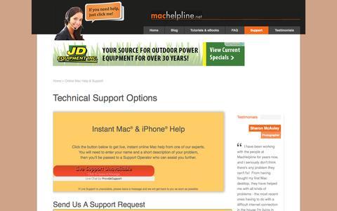 Screenshot of Support Page machelpline.net - Online Mac Help - Contact The Experts at MacHelpline.netMacHelpline.net - captured Oct. 4, 2014