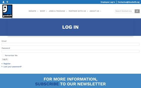 Screenshot of Login Page goodwill.org - Log In - Goodwill Industries International - captured June 13, 2019