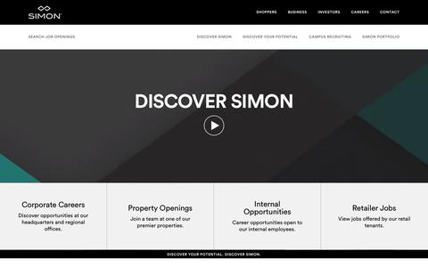 Screenshot of Jobs Page simon.com - Simon Careers - Discover Your Potential. Discover Simon. - captured Sept. 21, 2018