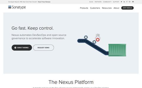 Screenshot of Home Page sonatype.com - Sonatype | DevOps Automation - Open Source Governance - captured Jan. 9, 2018
