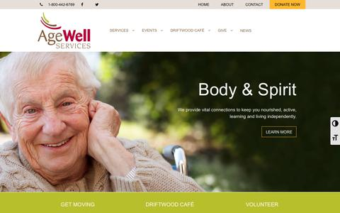 Screenshot of Home Page agewellservices.org - Redefine Age - AgeWell Services - captured Nov. 12, 2018