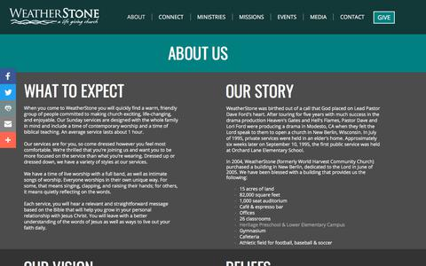 Screenshot of About Page weatherstonechurch.org - WeatherStone | About - captured Nov. 8, 2017
