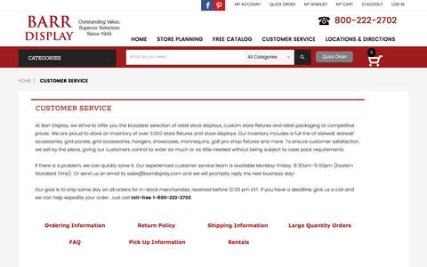 Screenshot of Support Page Terms Page barrdisplay.com - Customer Service - captured July 28, 2016