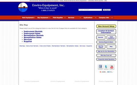 Screenshot of Site Map Page enviroequipment.com - Enviro-Equipment Site Map Index - captured Oct. 3, 2014