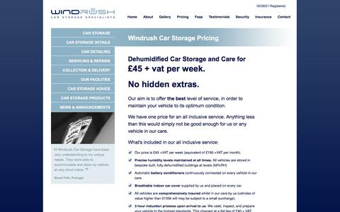 Screenshot of Pricing Page windrushcarstorage.co.uk - Car Storage Pricing - Windrush Car Storage - captured Oct. 26, 2014