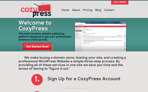 Screenshot of Home Page cozypress.com - CozyPress | Easy Websites on a Professional Platform - captured Oct. 3, 2014
