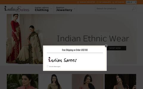 Screenshot of Home Page indiansarres.com - Indian sarees online | buy saree online | latest salwar kameez shopping - captured June 26, 2017