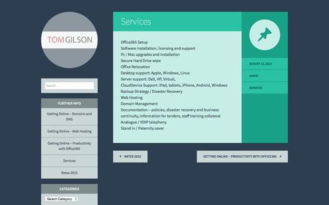 Screenshot of Services Page mrtomgilson.com - Services - - captured Feb. 17, 2016