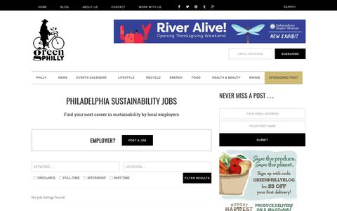 Screenshot of Jobs Page greenphillyblog.com - Philadelphia Sustainability Jobs - captured Nov. 5, 2018
