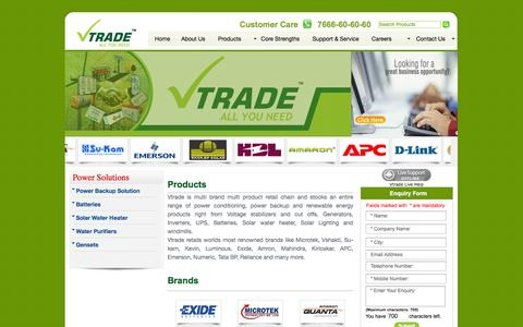 Screenshot of Products Page vtradeindia.com - VTRADE - ALL YOU NEED - captured Oct. 26, 2014