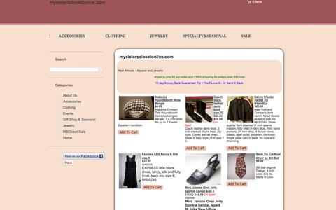 Screenshot of Home Page mysistersclosetonline.com - MySistersCloset Online Resale Shop - captured Oct. 22, 2017