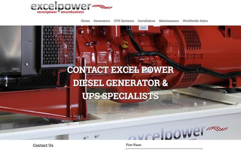 Screenshot of Contact Page excelpowerltd.co.uk - Contact Us - Diesel Generator manufacturer and Uninterruptible Power Supplies Southampton Hampshire : - captured May 22, 2017