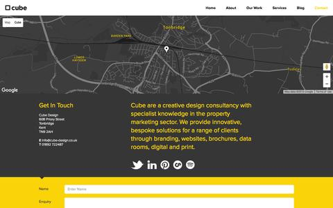 Screenshot of Contact Page cube-design.co.uk - Cube Design - Contact - captured Feb. 2, 2016