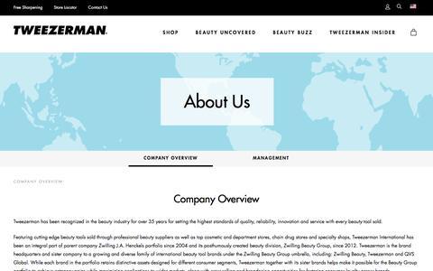 Screenshot of About Page tweezerman.com - Company Overview - captured Dec. 5, 2016