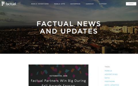 Screenshot of Press Page factual.com - Factual   Factual Blog   News and Updates - captured Dec. 8, 2016