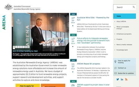 Screenshot of Home Page arena.gov.au - Home | Australian Renewable Energy Agency - captured Sept. 19, 2014