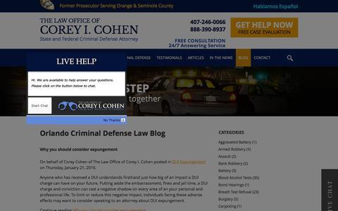 Screenshot of Blog coreycohen.com - Orlando Criminal Defense Law Blog | The Law Office of Corey I. Cohen - captured Jan. 24, 2016