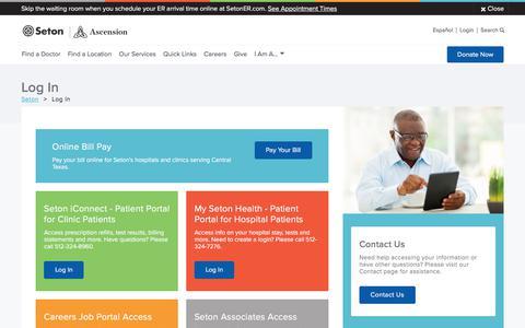 Screenshot of Login Page seton.net - Log In   Seton Healthcare Family - captured March 6, 2018
