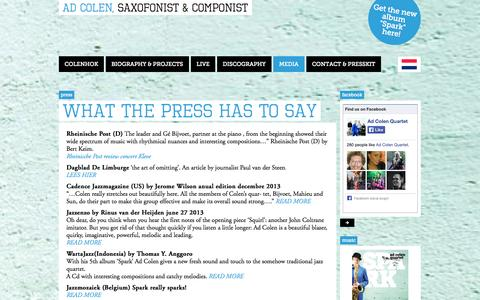 Screenshot of Press Page adcolen.com - What the press has to say   Ad Colen - captured Oct. 1, 2014