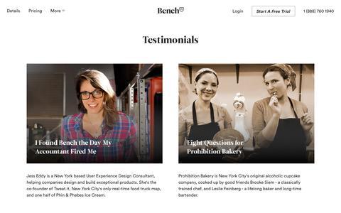 Bench — Customer Testimonials