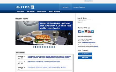 Screenshot of Press Page unitedcontinentalholdings.com - Recent News - captured Sept. 24, 2014