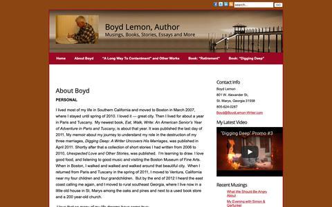 Screenshot of About Page boydlemon-writer.com - About Boyd » Boyd Lemon, Writer - captured Oct. 6, 2018