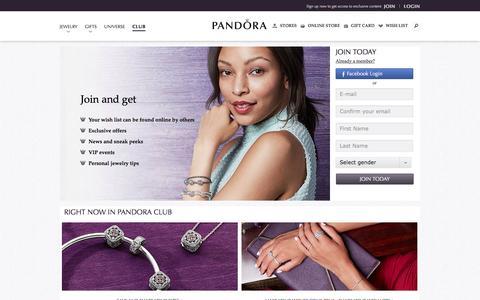 Screenshot of Signup Page Login Page pandora.net - Pandora Club - Exclusive Access to New Pieces  | PANDORA - captured Oct. 5, 2016