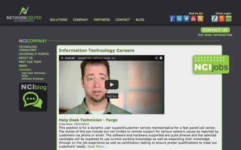 Screenshot of Jobs Page netcenter.net - Information Technology Careers  | Network Center, Inc. Fargo, Grand Forks - captured Oct. 9, 2014