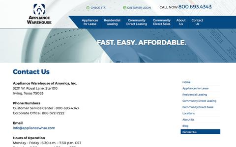 Screenshot of Contact Page appliancewhse.com - Appliance Warehouse of America, Inc - Your In-Apartment Home Laundry Leasing Source - captured Oct. 8, 2017
