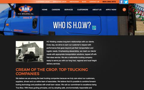 Screenshot of About Page howolding.com - About H.O. Wolding, Inc. | Best National Trucking Companies | HO Wolding - captured Jan. 23, 2016