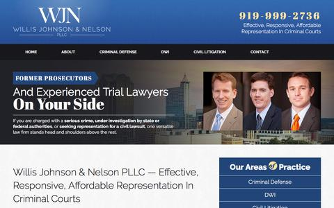 Screenshot of Home Page wjnpllc.com - Raleigh Criminal Lawyer | Willis Johnson & Nelson PLLC - captured Feb. 14, 2016