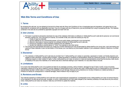 Screenshot of Terms Page abilityjobsplus.com - Ability Jobs Plus: Terms of use - captured Sept. 19, 2014