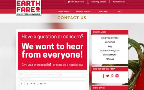 Screenshot of Contact Page earthfare.com - CONTACT US | Earth Fare - captured Jan. 22, 2016