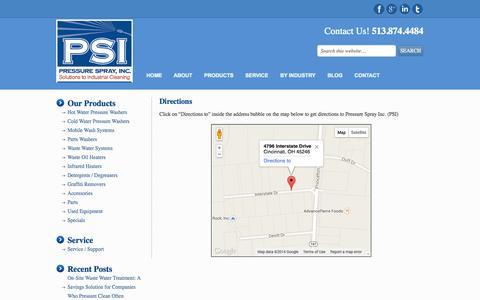 Screenshot of Maps & Directions Page pressuresprayinc.com - Directions - captured Sept. 30, 2014