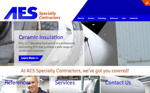 Screenshot of Home Page aesspecialties.com - Professional Contracting and Construction - AES Specialities - captured Aug. 5, 2015