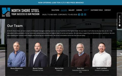 Screenshot of Team Page nssco.com - Our Team | North Shore Steel | North Shore Steel - captured Sept. 29, 2018