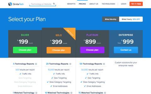 Screenshot of Pricing Page similartech.com - SimilarTech Pricing Plans - captured Sept. 23, 2014